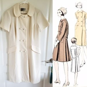 Vintage Mod Cream Midi Coat Dress